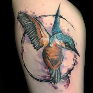 Watercolor Kingfisher Tattoo