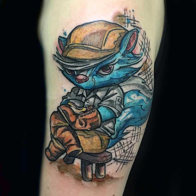 Watercolor Fuchs Tattoo vom surface Tattoo studio münchen
