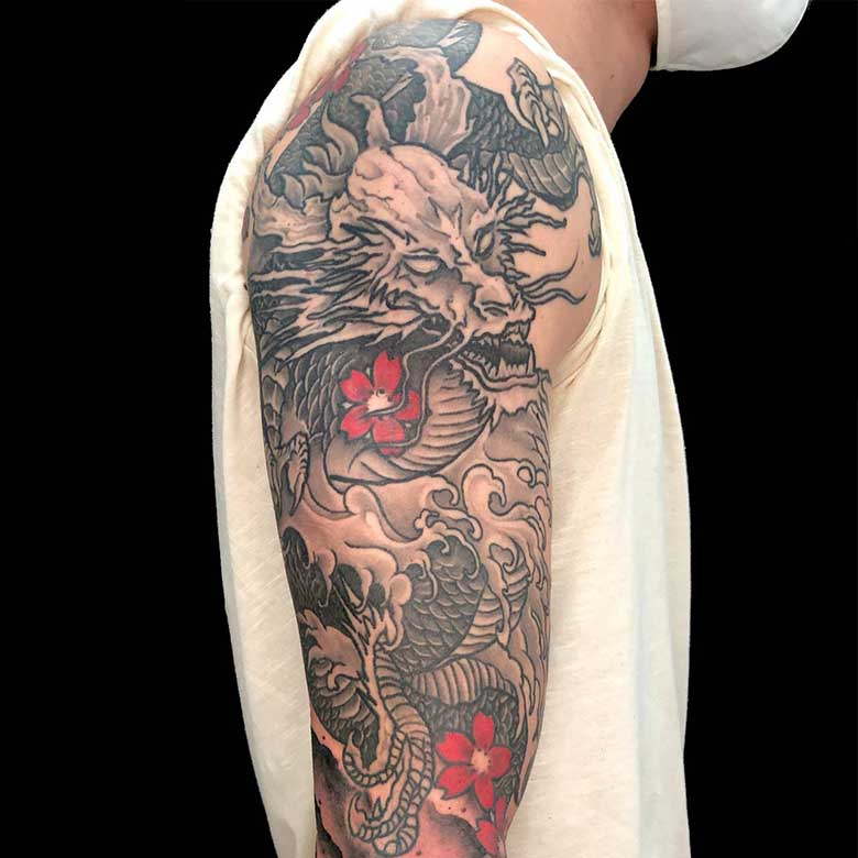 asia drachen tattoo münchen