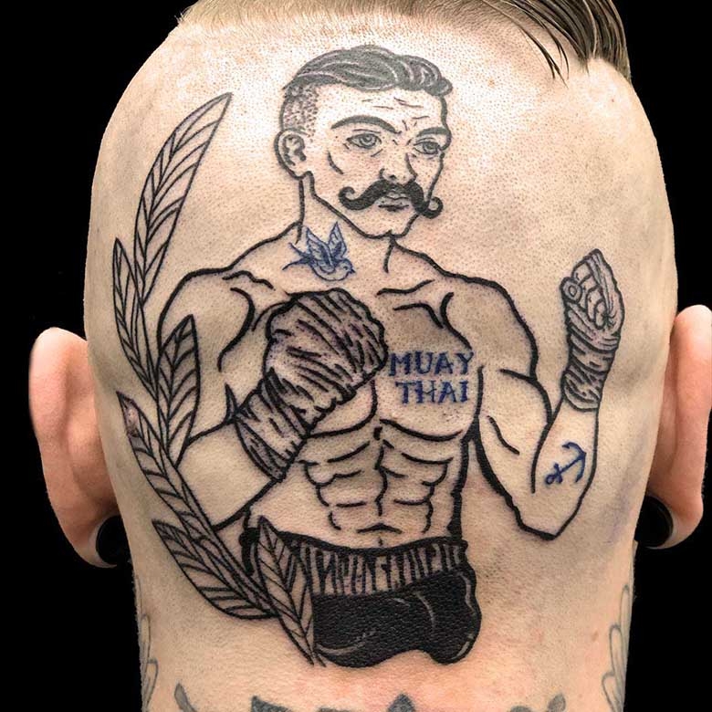oldschool boxer tattoo vom surface Tattoo studio münchen