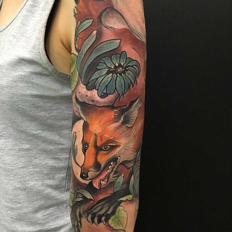 new school fuchs tattoo vom surface tattoo studio münchen fox tattoo