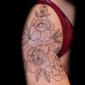 whip shading peony flower fineline tattoo