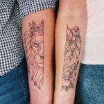 geometrisches Löwen Freundschafts Tattoo
